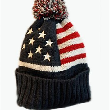 reputable site fca44 26aaf 2017 New Winter Unisex knit Beanie USA flag pattern pom pom knit