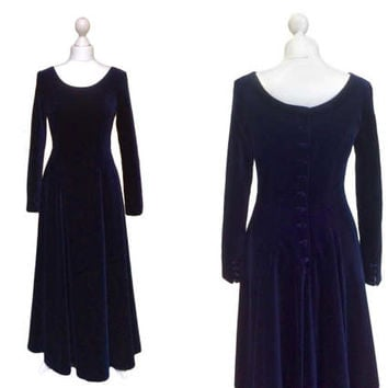 Beautiful Midnight Blue Velvet Laura Ashley Dress - Button Back / Cuffs - Collectable Vintage Evening Dress - Gown / Prom / Riding Dress