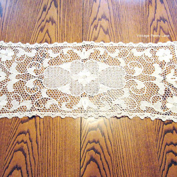 Vintage Crochet Doily, Large Ecru, Rectangle, Hand Crocheted, Floral Design