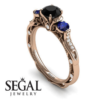 Unique Engagement Ring 14K Red Gold Art Deco Victorian Ring Edwardian Ring Black Diamond With Sapphire - Elizabeth