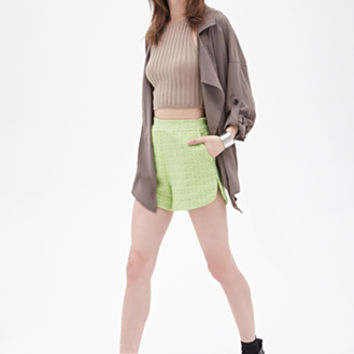 FOREVER 21 High-Waisted Tweed Shorts Neon Green/Taupe