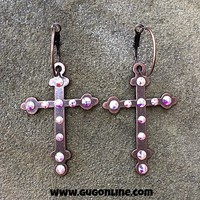 Copper Cross Earrings with AB Crystals