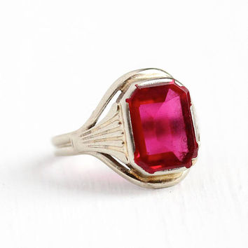 Created Ruby Ring - Vintage 10k White Gold Art Deco 1930s Filigree Ring - Size 4 1/2 Antique Pink Red July Birthstone Fine Jewelry