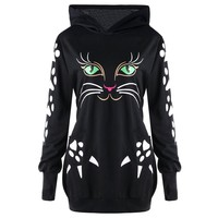 Women Cat Printed Sweatshirt Hoodie With Cat Ears Pockets Casual Hooded Pullover Plus Size Pullover Sudadera Mujer #10