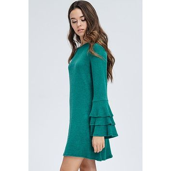 Trumpet Sleeve Dress - Green