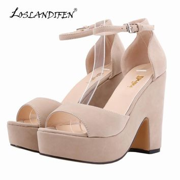 LOSLANDIFEN Sexy High Heels Platform Shoes Peep Toe Pumps Women's Dress Fashion Flock