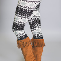 Ice Snowflake Queen Printed Leggings-Grey