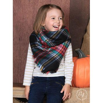 Girls' Fireside Warmth Plaid Blanket Scarf