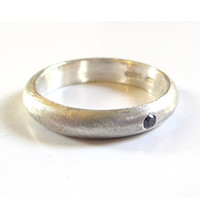 Sterling silver ring with Black diamond - Sterling Silver Wedding Band, Mens Band in Brushed Silver