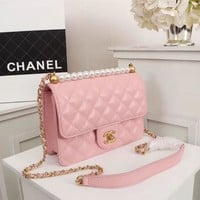Double C Bag Colors Pink Women Shopping Leather Satchel Shoulder Bag Handbag Crossbody Style # - Ready Stock Online
