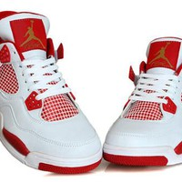 Cheap Air Jordan 4 Retro Men Shoes White Red Gold