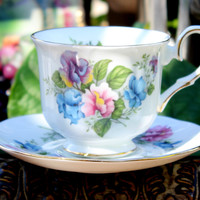 Vintage Teacups - Royal Winchester Tea Cup and Saucer - Sweet Peas - English Bone China 11770