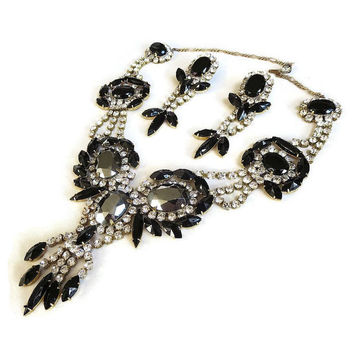 SALE Vintage CZECH Bib Collar Necklace & Dangle Earrings Demi Parure Set with Black, Clear and Hematite Cut Glass and Rhinestones