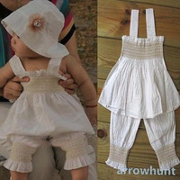 Toddler Baby 3 Pcs Outfit Girl Top+Pants+Hat Set Kids Ruffled Clothes Size 0-3Y