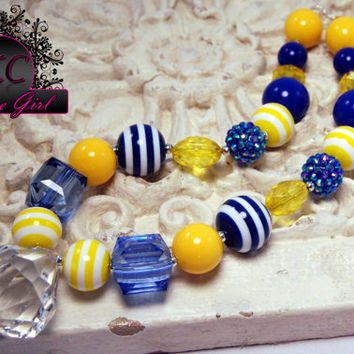 Girls Boutique Jewelry Yellow and Blue Chunky Beaded Necklace, Girls chunky beaded necklace