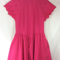 Womens Vintage 1980s A-Line Pretty In Pink Open-Back Summer Dress with Eyelet Sleeves size 9/10