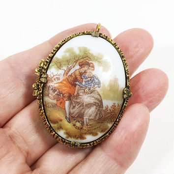 Fragonard Cameo Perfume Locket Vintage 1950s Victorian Revival French Porcelain Gold Tone European Lovers Pendant by Mary Chess