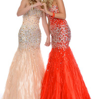 Precious Formals P46854 Ostrich Feather Jeweled Prom Dress