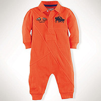 Ralph Lauren Childrenswear 3-12 Months Pieced Rugby Coverall - Stem
