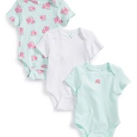 Infant Girl's Little Me 'Posies' Cotton Bodysuits (Set of 3)