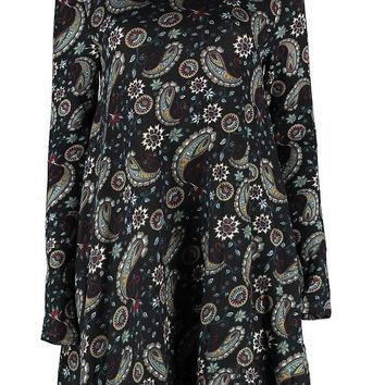 Lia Paisley Printed Brushed Knit Swing Dress | Boohoo