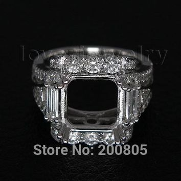 Vintage Princess 9x9mm Solid 18Kt White Gold Diamond Semi Mount Ring For Sale WU204