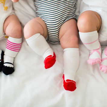 Stay Put Set of 3 Baby Girl Knee Socks