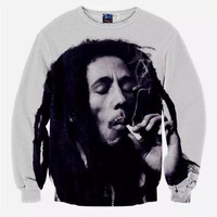 Bob Marley Tribute Crew Neck Sweatshirt Men & Women Weed Smoke Harajuku Style All Over Print Black & White Sweater