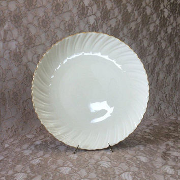 "Lenox Laurent Chop Plate, 1980's Ivory/Cream Swirl Pattern with Gold Trim, 12 7/8"" Round Serving Platter"