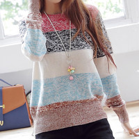 A 080520 Striped pullover knitted