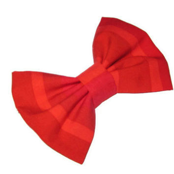 Red bow made out of reclaimed fabric, two tuned stripes, upcycled, recycled, repurposed hair bows, womens and girls strip hair clip