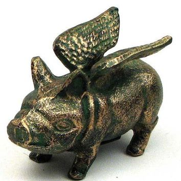 Cast Iron Flying Pig Bank Figurine