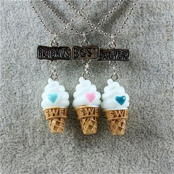 3 pcs/lots Best Friends Forever Food Ice cream Pendant Necklaces Friendship Creative Keepsake For Kids Christmas Gift