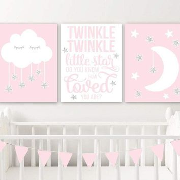 Moon Cloud Stars Nursery Decor Canvas or Print Twinkle Twinkle Little Star Wall ART, Pink Girl Quote Nursery Artwork Set of 3 Pictures