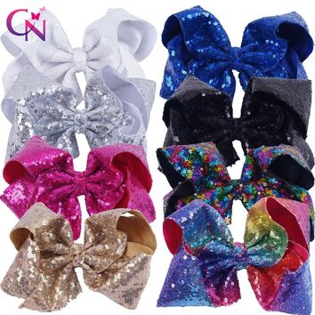 "8 Pieces/lot 8"" Sequin Hair Bows With Clips For Kids Girls Handmade Large Bling Rainbow Sequin Bows Hairgrips Hair Accessories"