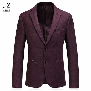 Jz Chief Men Wool Blazer Designs Mens Wine Red Floral Jackets Slim Fit Suit Luxury Casual Coat Blazer Masculino Two Buttons