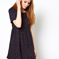 ASOS Smock Dress In Elephant Jacquard