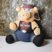 Large Harley Davidson Motorcycles Boar Biker Hog Pig Plush Stuffed Animal Toy with Tags 1998 Bandana Jeans Harley Shirt