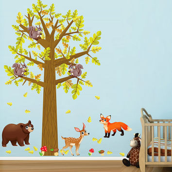kcik1659 Full Color Wall decal bedroom children's room decor Custom Baby Nursery on bed baby tree nusery decal tree forest animals