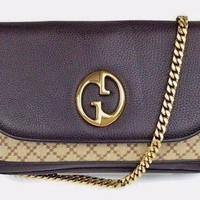 Authentic GUCCI Diamante Chain Strap Shoulder Bag Brown Leather Excellent 1070