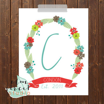 Last/First Name Customizable Floral Banner  Modern Art/ Family Name Print/ Floral Monogram/ Printable/ Floral Print/ Monogram/ Family Name