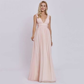 V neck pleats evening dresses pink sleeveless ruched floor length a line gown lady backless long evening dress