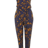 Abstract Palm Print Jersey Jumpsuit - Navy Blue
