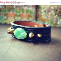 ON SALE LUX Recycled Leather Chrysoprase Gemstone Spike Stacking Cuff