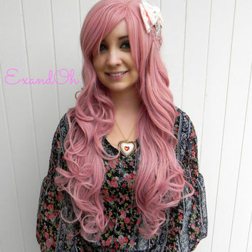 ON SALE // Rose Petal Pink / Long Curly Layered Wig with Natural Scalp Piece Lolita Wig, Scene Wig, Pink Cosplay Wig, Mermaid Hair