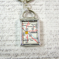 Lubbock Texas Map Double Sided Keychain