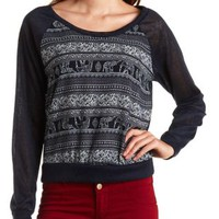 Elephant Print Chiffon & Sweater Knit Top - Navy Combo