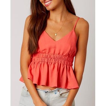 Empire Waist Ruffled Trim Cami - Coral