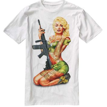 Nu Image Marilyn Monroe Rifle Soldier Tattoo Cool Awesome T-Shirt