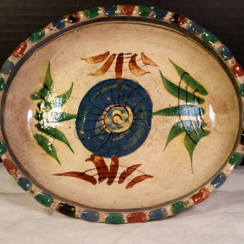 Mexican Pottery Bowl Tlaquepaque Handpainted Mexican Oval Bowl Dish Vintage Mexican clay Pottery Fluted Edge Blue Red Green Glazed Pottery
